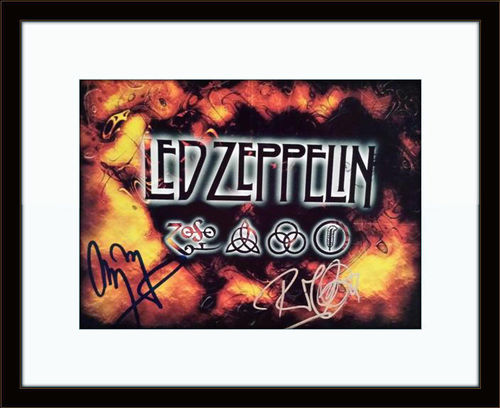 Framed Led Zeppelin Jimmy Page Robert Plant Autograph with COA