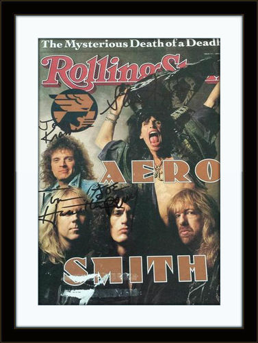 Framed Aerosmith Rolling Stone Autograph with COA