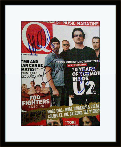 Framed U2 Authentic Autograph with COA