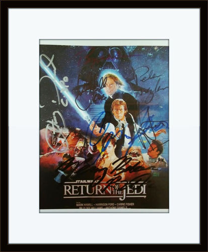 Framed Star Wars Return Of The Jedi Cast Authentic Autograph with COA