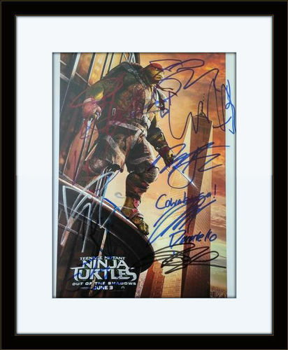 Framed Teenage Mutant Ninja Turtles Cast Authentic Autograph with COA