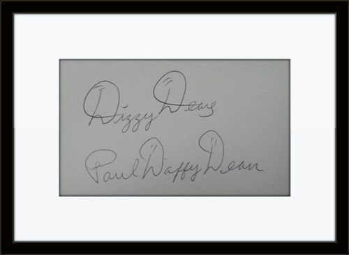 Framed Dizzy and Daffy Dean Cardinals Autographs with COA