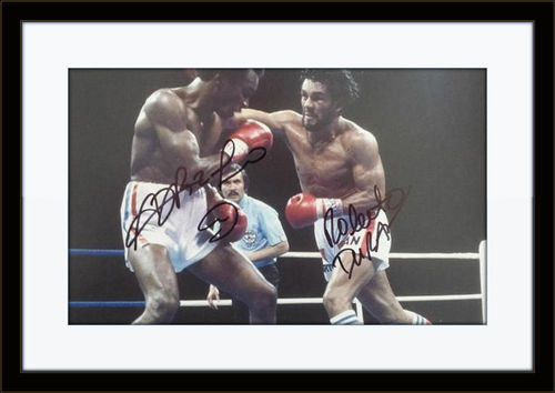 Framed Sugar Ray Leonard Roberto Duran Autograph with COA