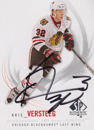 Kris Versteeg Blackhawks Autograph On Card with COA
