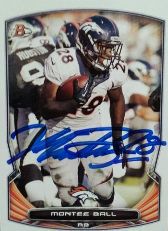 Montee Ball Broncos Autograph On Card with COA