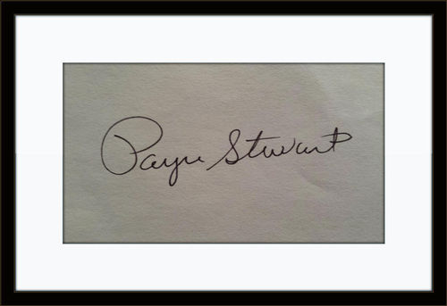 Framed Rare Payne Stewart Authentic Autograph with COA