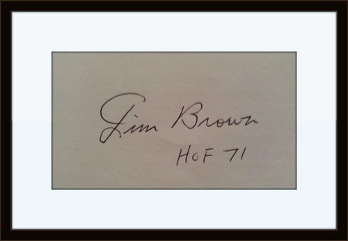 Framed Rare Jim Brown Authentic Autograph with COA