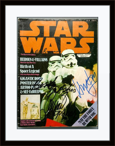 Framed Star Wars Hamill Fisher Alec Guinness Harrison Magazine Poster Autograph with COA