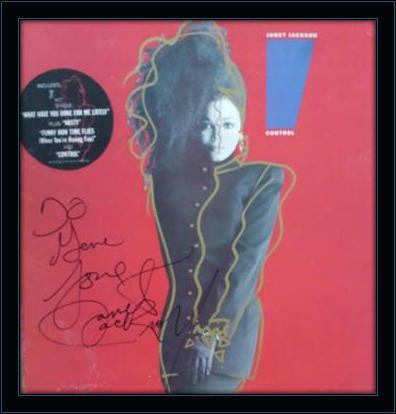Framed Janet Jackson Control LP Autograph with COA