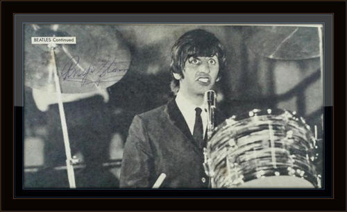 Framed Ringo Starr Newspaper Photo Autograph with COA