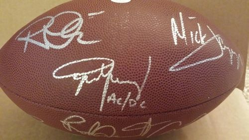 Rock Legends Clapton,Plant,Bono,Jagger,Angus Signed Football with COA