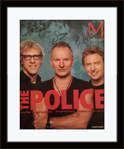 Framed Police complete Band Photo Autograph with COA