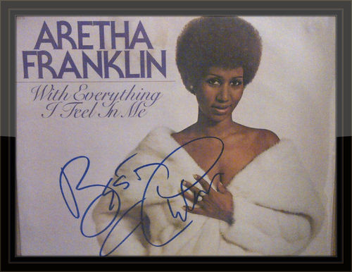 Aretha Franklin Authentic Album Autograph with COA