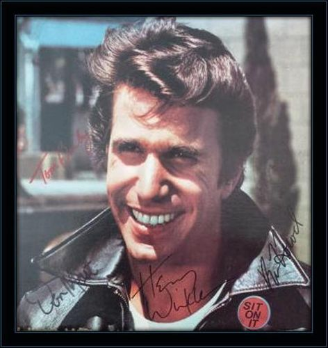 Happy Days Fonzie Winkler Tom Bosley Don Most and Ron Howard Authentic Album Autograph with COA