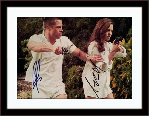 Framed Brad Pitt Angelina Jolie Photo Autograph with COA