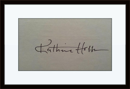 Framed Rare Katherine Hepburn Authentic Autograph with COA