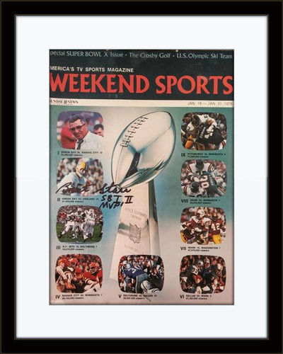Framed Bart Starr Packers Autographed Magazine Cover with COA