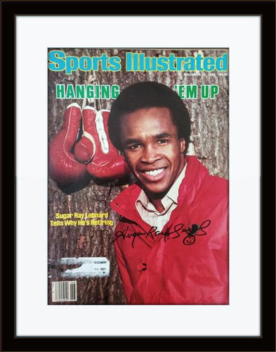 Framed Sugar Ray Leonard Autographed Magazine Cover with COA
