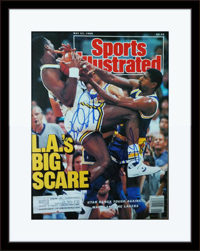 Framed Magic Johnson Karl Malone Autographed Magazine Cover with COA