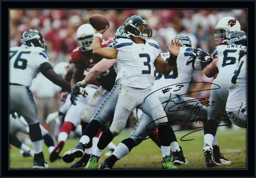 Framed Russel Wilson Seahawks Autograph 11x14 Photo with COA