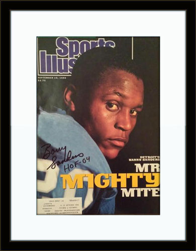 Framed Barry Sanders Autograph On Magazine with COA