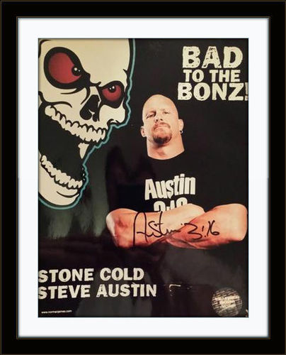 Framed Steve Austin Photo Autograph with COA
