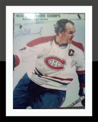 Framed Henri Richard Canadiens Autograph on 8 x 10 Photo with COA