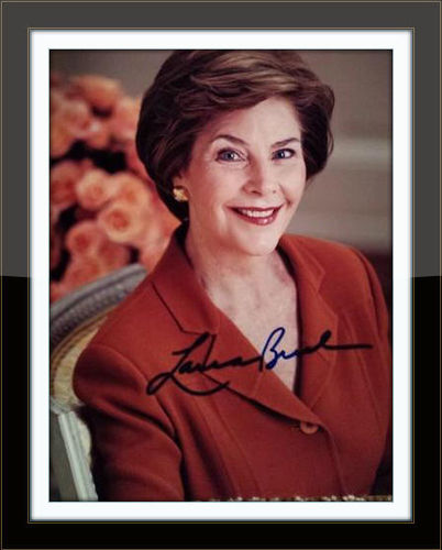 Framed Laura Bush Authentic Autograph with COA