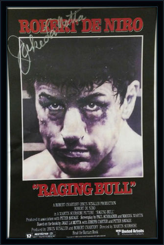 Framed Jake Lamotta Raging Bull Autographed Poster with COA