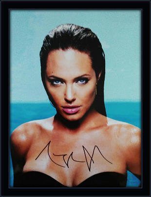 Framed Angelina Jolie with Photo Authentic Autograph with COA