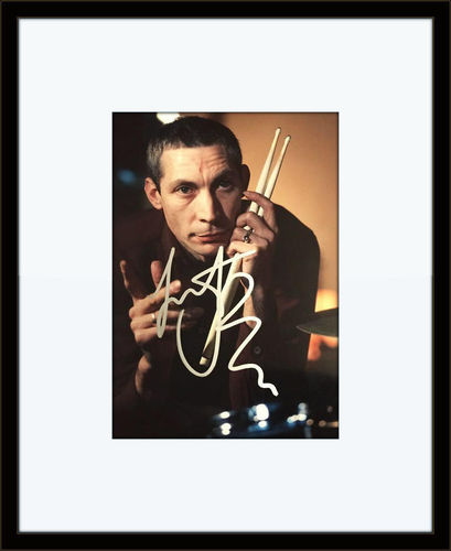 Charlie Watts framed autographed photo with COA