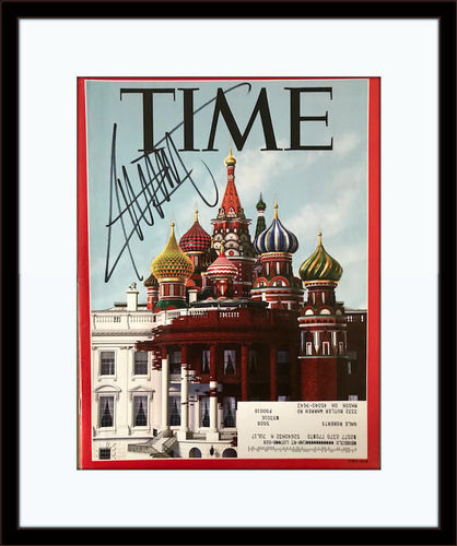 Framed President Donald Trump Magazine Autograph with COA