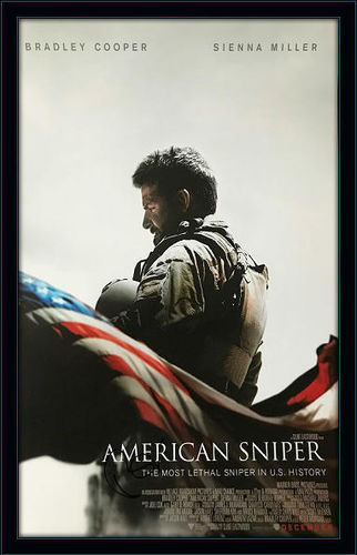 Framed Bradley Cooper American Sniper Poster Autograph with Certificate of Authenticity