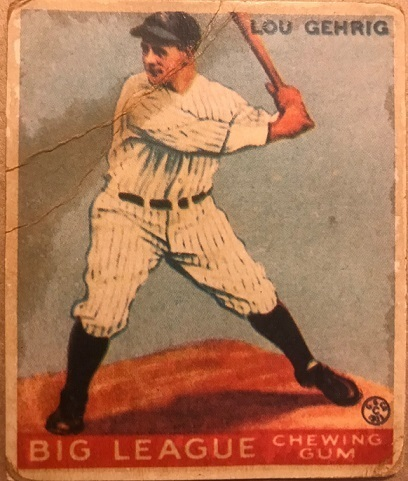 1933 Goudey Lou Gehrig New York Yankees #92 Baseball Card with COA