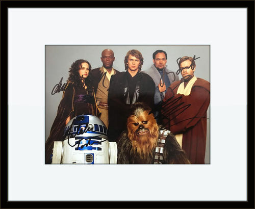Framed Star Wars Revenge of the Sith Cast Authentic Autograph with Certificate of Authenticity