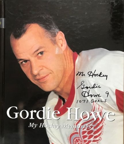 Gordie Howe Redwings Autographed Book Cover with Certificate of Authenticity